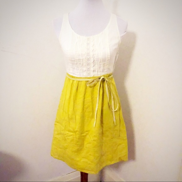 a751ab7bdcf Anthropologie Dresses   Skirts - Anthro chartreuse cream lace sun dress 0